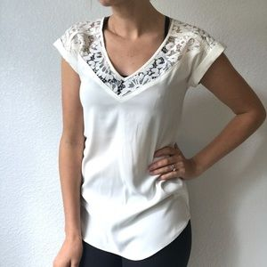 Express Lace Shoulder Short Sleeve Top Size Small